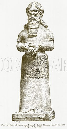 Statue of Nebo; from Nimroud. British Museum. Calcareous Stone. Illustration for A History of Art in Chaldaea and Assyria by Georges Perrot and Charles Chipiez (Chapman and Hall, 1884).