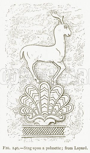 Stag upon a Palmette; from Layard. Illustration for A History of Art in Chaldaea and Assyria by Georges Perrot and Charles Chipiez (Chapman and Hall, 1884).