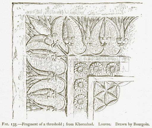 Fragment of a Threshold; from Khorsabad. Louvre. Illustration for A History of Art in Chaldaea and Assyria by Georges Perrot and Charles Chipiez (Chapman and Hall, 1884).