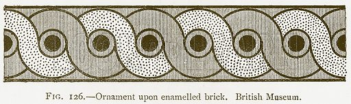 Ornament upon Enamelled Brick. British Museum. Illustration for A History of Art in Chaldaea and Assyria by Georges Perrot and Charles Chipiez (Chapman and Hall, 1884).