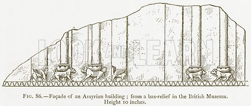 Facade of an Assyrian Building; from a Bas-Relief in the British Museum. Illustration for A History of Art in Chaldaea and Assyria by Georges Perrot and Charles Chipiez (Chapman and Hall, 1884).