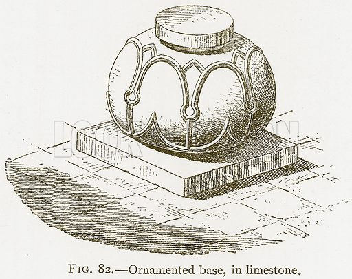 Ornamented Base, in Limestone. Illustration for A History of Art in Chaldaea and Assyria by Georges Perrot and Charles Chipiez (Chapman and Hall, 1884).
