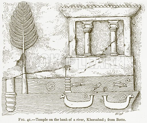 Temple on the Bank of a River, Khorsabad; from Botta. Illustration for A History of Art in Chaldaea and Assyria by Georges Perrot and Charles Chipiez (Chapman and Hall, 1884).