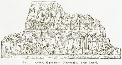 Convoy of Prisoners. Kouyundjik. Illustration for A History of Art in Chaldaea and Assyria by Georges Perrot and Charles Chipiez (Chapman and Hall, 1884).