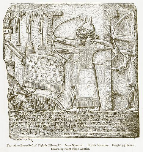 Bas-Relief of Tiglath Pileser II; from Nimroud. British Museum. Illustration for A History of Art in Chaldaea and Assyria by Georges Perrot and Charles Chipiez (Chapman and Hall, 1884).
