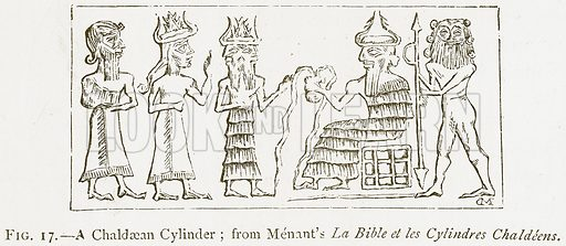 A Chaldaean Cylinder; from Menant's La Bible et les Cylindres Chaldeens. Illustration for A History of Art in Chaldaea and Assyria by Georges Perrot and Charles Chipiez (Chapman and Hall, 1884).