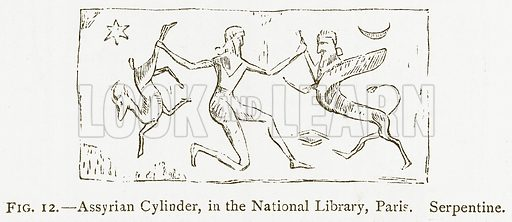 Assyrian Cylinder, in the National Library, Paris. Serpentine. Illustration for A History of Art in Chaldaea and Assyria by Georges Perrot and Charles Chipiez (Chapman and Hall, 1884).