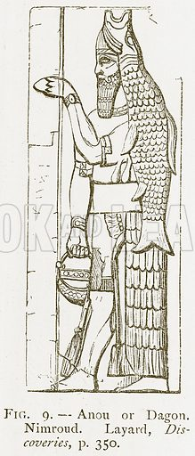 Anou or Dagon. Nimroud. Layard, Discoveries. Illustration for A History of Art in Chaldaea and Assyria by Georges Perrot and Charles Chipiez (Chapman and Hall, 1884).