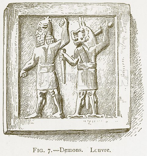 Demons. Louvre. Illustration for A History of Art in Chaldaea and Assyria by Georges Perrot and Charles Chipiez (Chapman and Hall, 1884).
