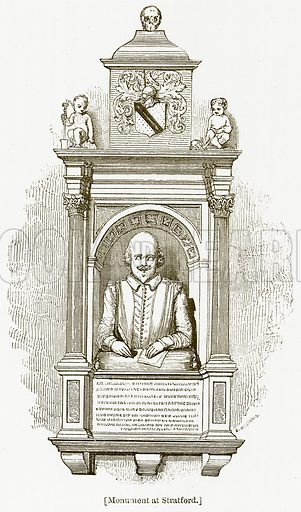 Monument at Stratford. Illustration for William Shakespeare A Biography by Charles Knight (Virtue, c 1880).