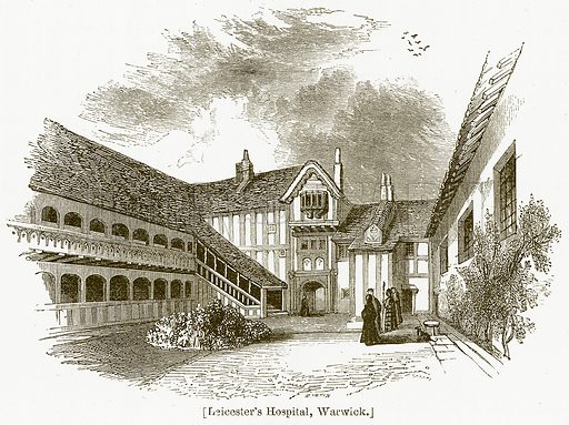 Leicester's Hospital, Warwick. Illustration for William Shakespeare A Biography by Charles Knight (Virtue, c 1880).