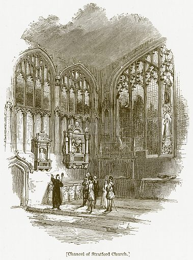 Chancel of Stratford Church. Illustration for William Shakespeare A Biography by Charles Knight (Virtue, c 1880).