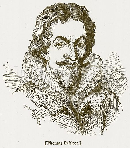 Thomas Dekker. Illustration for William Shakespeare A Biography by Charles Knight (Virtue, c 1880).