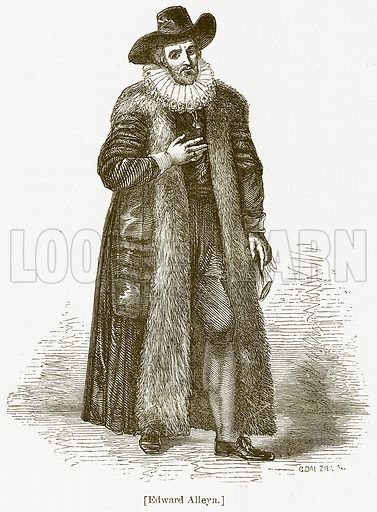 Edward Alleyn. Illustration for William Shakespeare A Biography by Charles Knight (Virtue, c 1880).