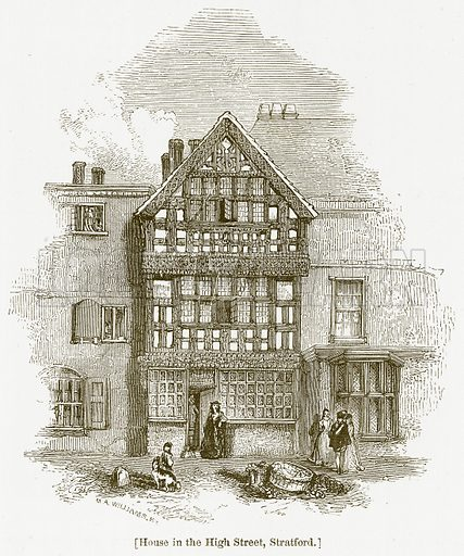 House in the High Street, Stratford. Illustration for William Shakespeare A Biography by Charles Knight (Virtue, c 1880).