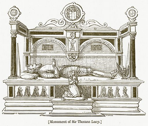 Monument of Sir Thomas Lucy. Illustration for William Shakespeare A Biography by Charles Knight (Virtue, c 1880).