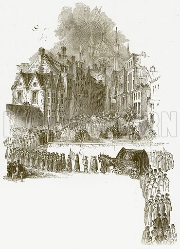 Funeral of Queen Elizabeth I. Illustration for William Shakespeare A Biography by Charles Knight (Virtue, c 1880).