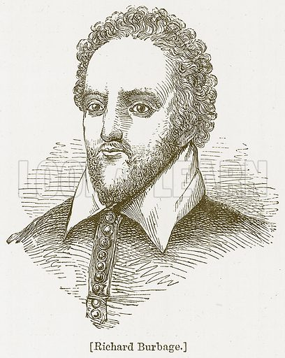Richard Burbage. Illustration for William Shakespeare A Biography by Charles Knight (Virtue, c 1880).