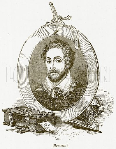 Spenser. Illustration for William Shakespeare A Biography by Charles Knight (Virtue, c 1880).