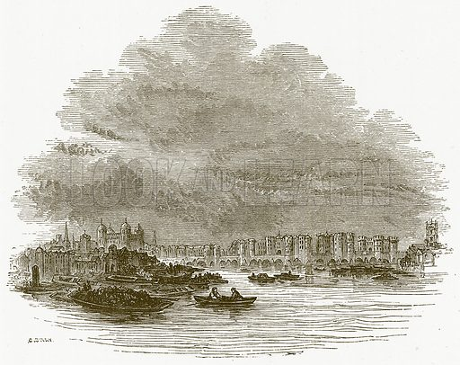 London.  Illustration for William Shakespeare A Biography by Charles Knight (Virtue, c 1880).
