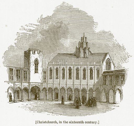 Christchurch, in the Sixteenth Century. Illustration for William Shakespeare A Biography by Charles Knight (Virtue, c 1880).