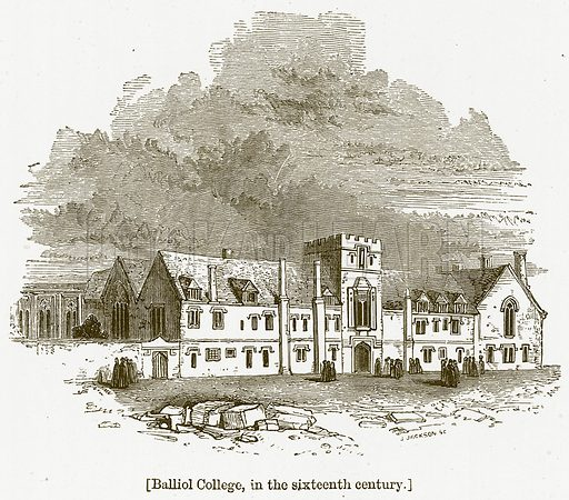 Balliol College, in the Sixteenth Century. Illustration for William Shakespeare A Biography by Charles Knight (Virtue, c 1880).