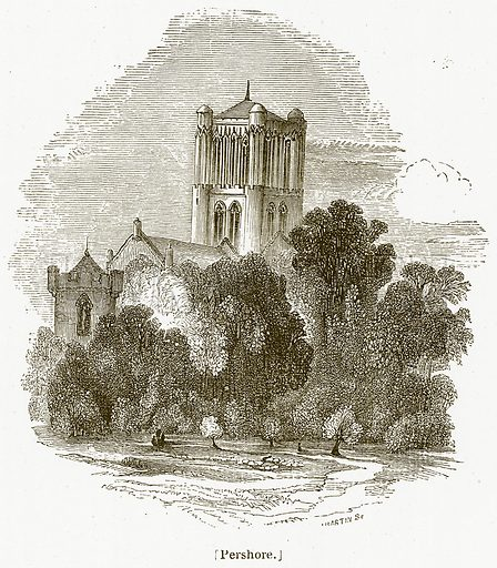 Pershore. Illustration for William Shakespeare A Biography by Charles Knight (Virtue, c 1880).