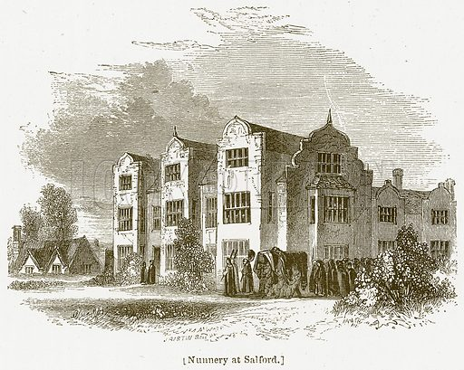 Nunnery at Salford. Illustration for William Shakespeare A Biography by Charles Knight (Virtue, c 1880).