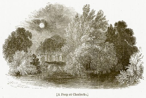 The Peep at Charlcote. Illustration for William Shakespeare A Biography by Charles Knight (Virtue, c 1880).