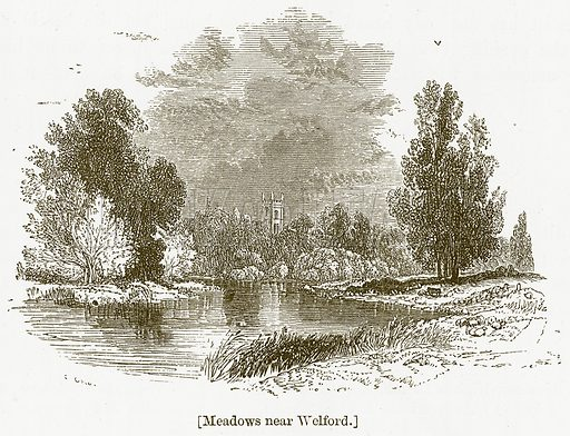 Meadows near Welford. Illustration for William Shakespeare A Biography by Charles Knight (Virtue, c 1880).