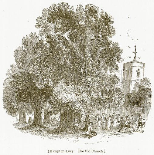 Hampton Lucy. The Old Church. Illustration for William Shakespeare A Biography by Charles Knight (Virtue, c 1880).