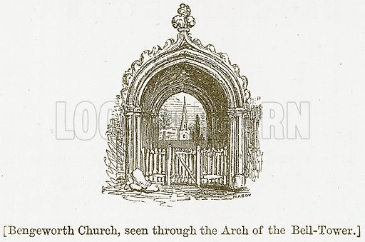 Bengeworth Church, seen through the Arch of the Bell-Tower. Illustration for William Shakespeare A Biography by Charles Knight (Virtue, c 1880).