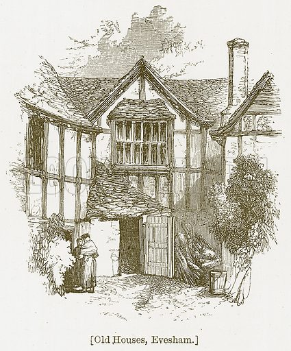 Old Houses, Evesham. Illustration for William Shakespeare A Biography by Charles Knight (Virtue, c 1880).