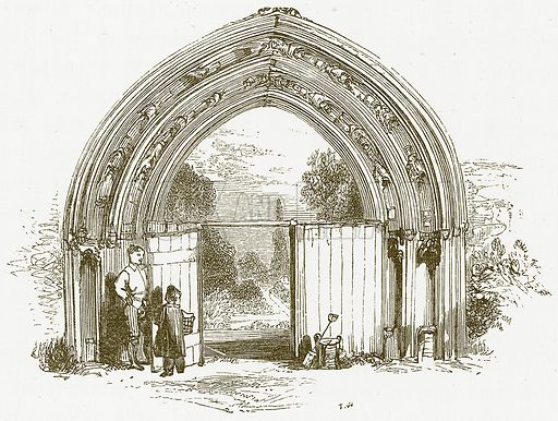 Gate.  Illustration for William Shakespeare A Biography by Charles Knight (Virtue, c 1880).