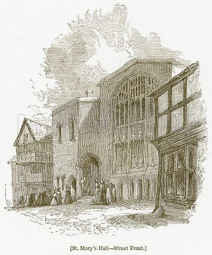 St. Mary's Hall--Street Front. Illustration for William Shakespeare A Biography by Charles Knight (Virtue, c 1880).