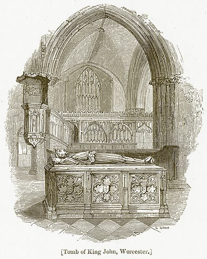 Tomb of King John, Worcester. Illustration for William Shakespeare A Biography by Charles Knight (Virtue, c 1880).