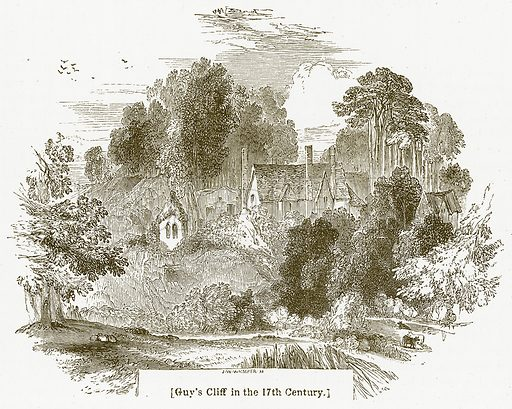 Guy's Cliff in the 17th Century. Illustration for William Shakespeare A Biography by Charles Knight (Virtue, c 1880).