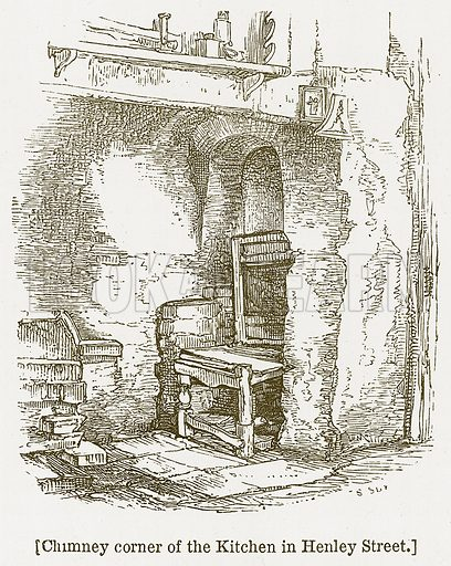 Chimney Corner of the Kitchen in Henley Street. Illustration for William Shakespeare A Biography by Charles Knight (Virtue, c 1880).