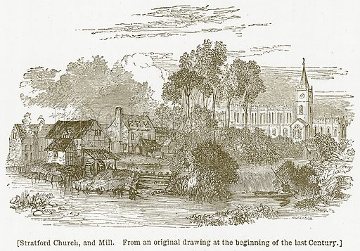 Stratford Church, and Mill. Illustration for William Shakespeare A Biography by Charles Knight (Virtue, c 1880).