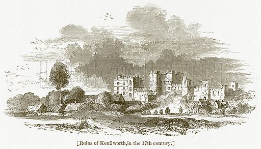 Ruins of Kenilworth, in the 17th Century. Illustration for William Shakespeare A Biography by Charles Knight (Virtue, c 1880).