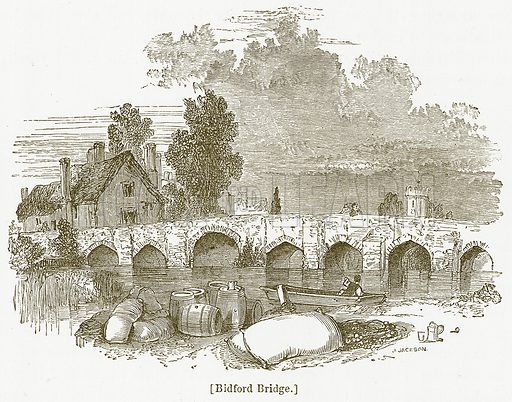 Bidford Bridge. Illustration for William Shakespeare A Biography by Charles Knight (Virtue, c 1880).