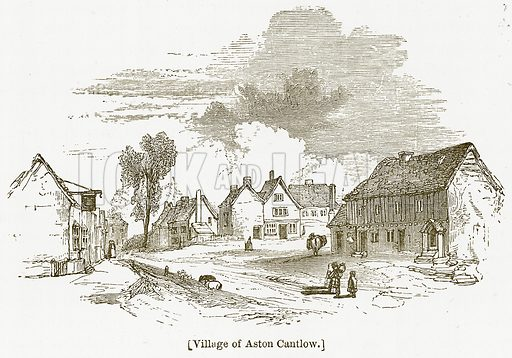 Village of Aston Cantlow. Illustration for William Shakespeare A Biography by Charles Knight (Virtue, c 1880).