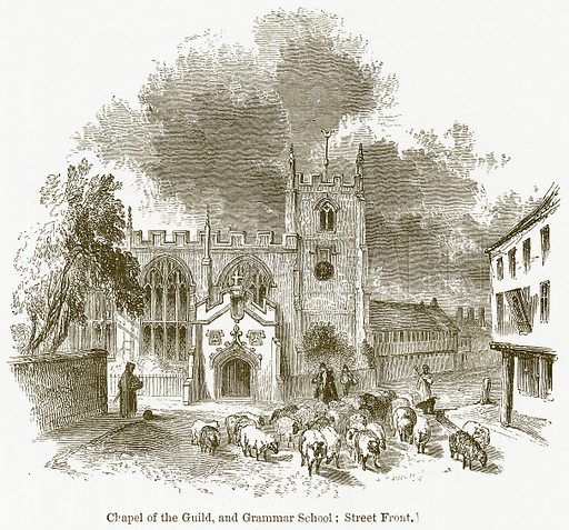 Chapel of the Guild, and Grammar School; Street Front. Illustration for William Shakespeare A Biography by Charles Knight (Virtue, c 1880).