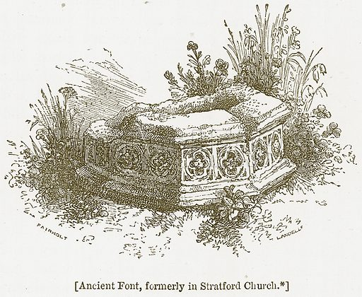 Ancient Font, formerly in Stratford Church. Illustration for William Shakespeare A Biography by Charles Knight (Virtue, c 1880).