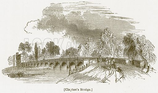 Clopton's Bridge. Illustration for William Shakespeare A Biography by Charles Knight (Virtue, c 1880).