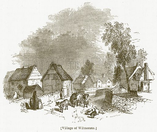 Village of Wilmecote. Illustration for William Shakespeare A Biography by Charles Knight (Virtue, c 1880).