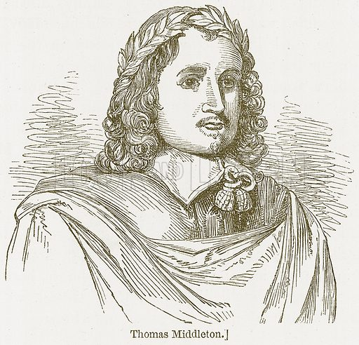 Thomas Middleton. Illustration for William Shakespeare A Biography by Charles Knight (Virtue, c 1880).