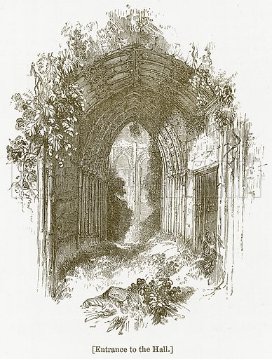 Entrance to the Hall. Illustration for William Shakespeare A Biography by Charles Knight (Virtue, c 1880).