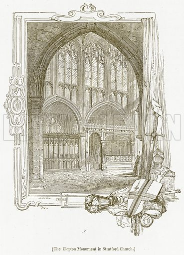 The Clopton Monument in Stratford Church. Illustration for William Shakespeare A Biography by Charles Knight (Virtue, c 1880).