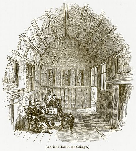 Ancient Hall in the College. Illustration for William Shakespeare A Biography by Charles Knight (Virtue, c 1880).